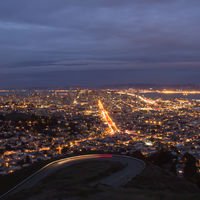 … as seen from Twin Peaks. The bright strip in the middle is Market Street.