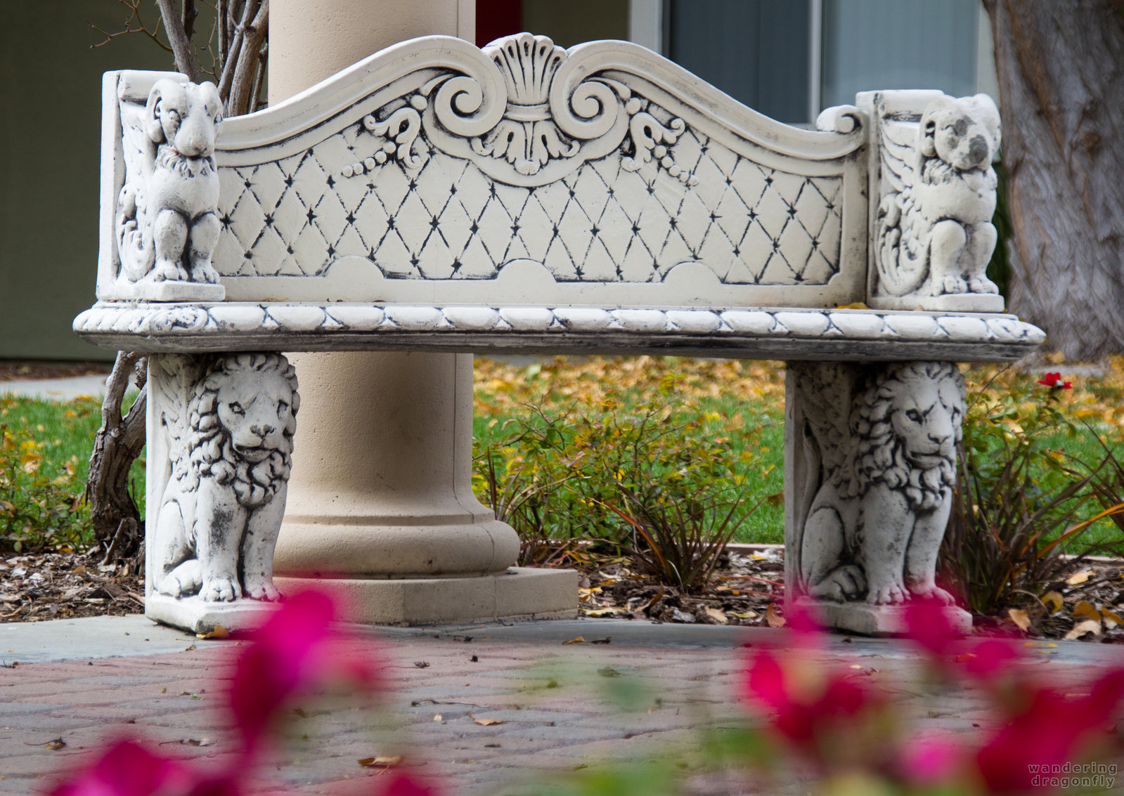 Bench with lions -- autumn, bench, gazebo, lion