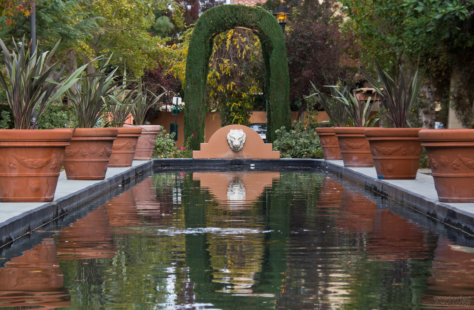 The lion and its arch -- autumn, lion head, pond, reflection