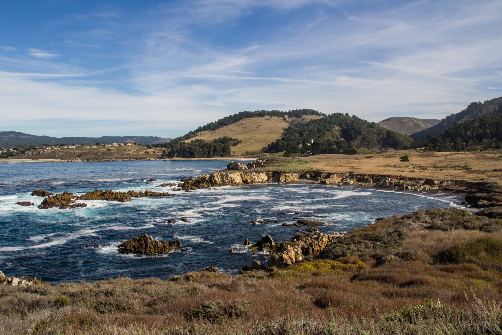 Moss Cove and the Monastery Beach -- beach, cove, meadow, ocean, rock, water