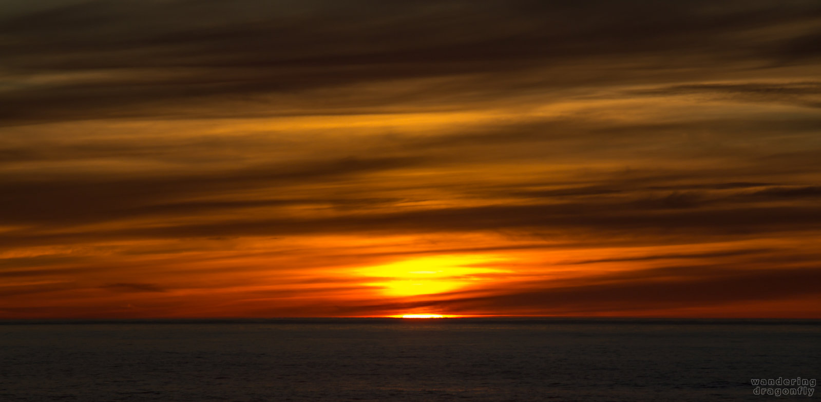 Fiery sun -- cloud, ocean, red, sun, sunset, water