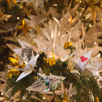 The Tree of Hope has thousands of origami paper cranes bearing wishes from around the world, from the likes of President Obama and Jane Goodall to anonymous schoolkids.
