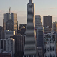 The Transamerica Pyramid is the tallest skyscraper in the San Francisco skyline with its 260 m (850 ft) hieght. It contains 48 floors and was built between 1969 and 1972.  This building was the headquarters of the Transamerica Corporation wich is now a subsidiary holding company of AEGON. But Transamerica was founded by that A. P. Gianni in 1930 who had also been the head of Bank of Italy which became later the Bank of America.