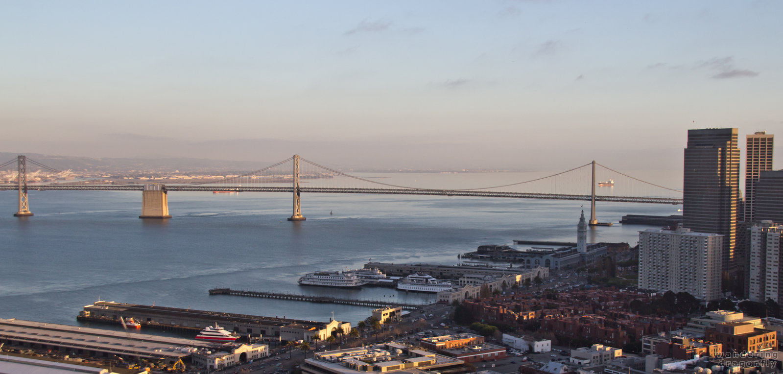 The Bay Bridge in the afternoon -- bridge, pier, vista, water