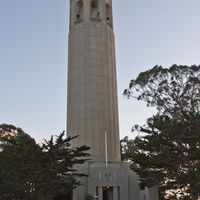 is a 64 m (210 ft) tall tower at the top of the Telegraph Hill.  The art deco tower was built in 1933 at the request of Lillie Hitchcock Coit to beautify the city of San Francisco. She was a well-known volunteer firefighter and an eccentric character of her time.  Despite of her special intrest and relationship with firefighting, the tower was allegedly not designed to resemble a fire hose nozzle… :)