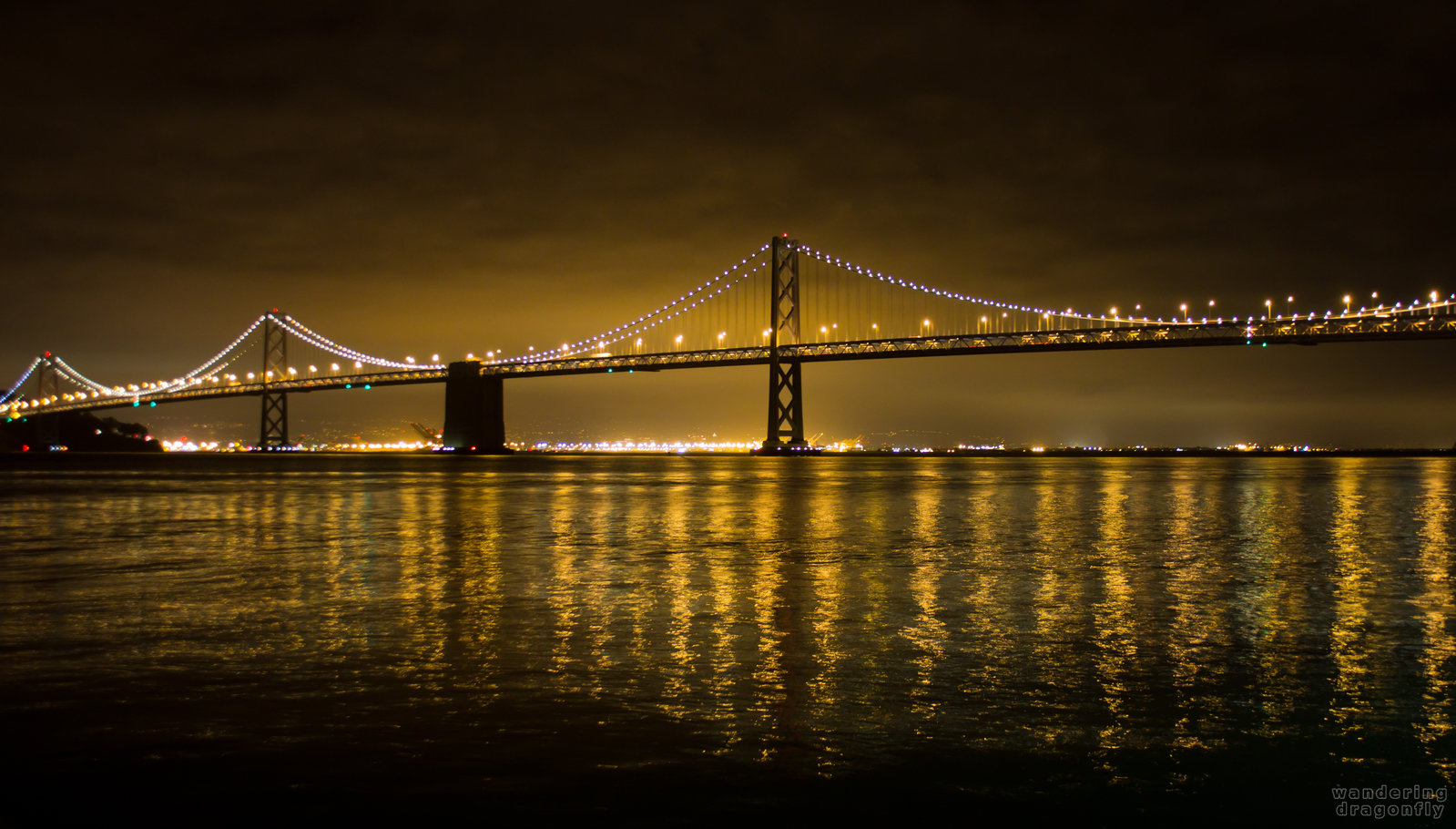 The Bay Bridge at night -- bridge, night, water